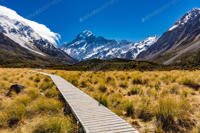Hooker Valley Track in Aoraki National Park, New Zealand, South