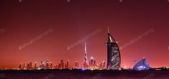 Dubai skyline reflection at night, Dubai, United Arab Emirates