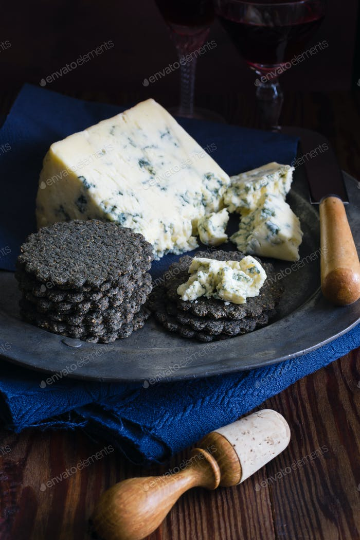 Mature English Stilton Cheese and Charcoal Crackers