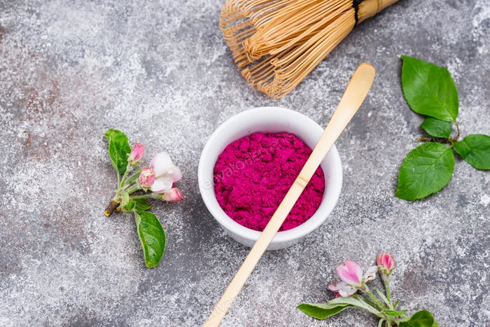 Pink matcha powder from dragon fruit
