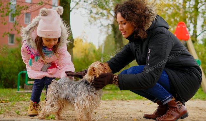 Мать и дочь играть с собакой на детской площадке
