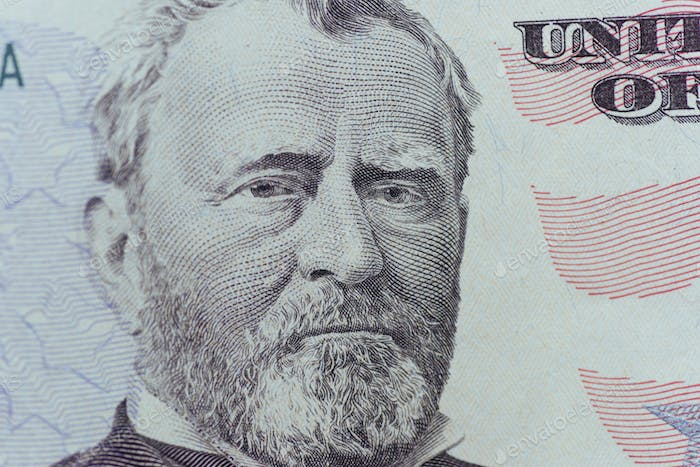 Ulysses Grant on the US fifty person or 50 bill macro closeup