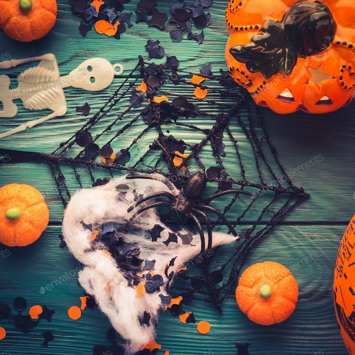 Halloween party decorations and sweets