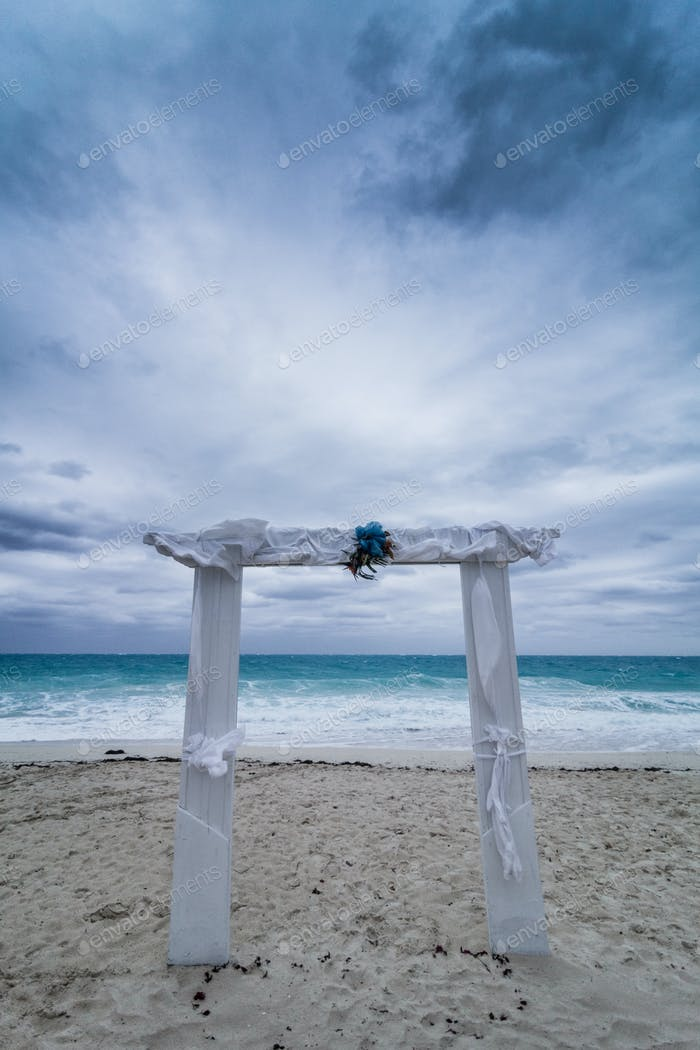 Wedding Arch and Bad Weather