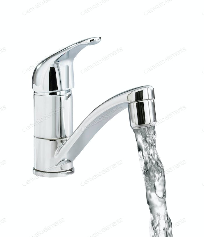 Closeup of water-supply faucet