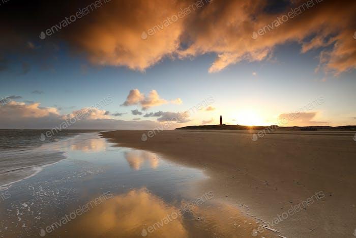 beautiful golden sunrise on beach