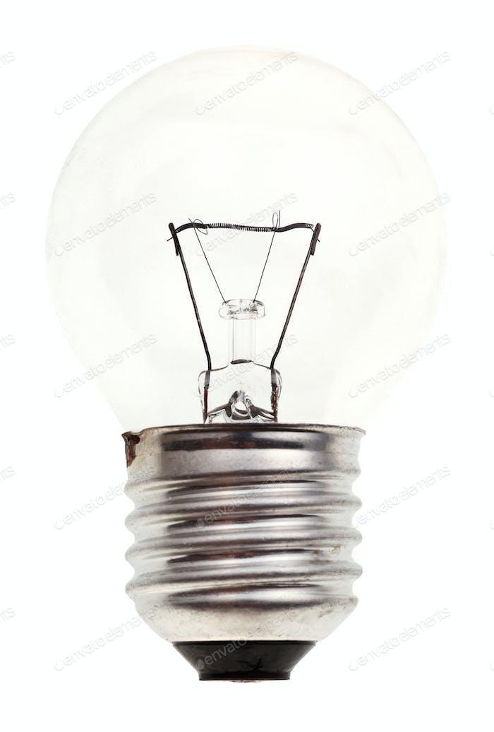 small transparent incandescent light bulb