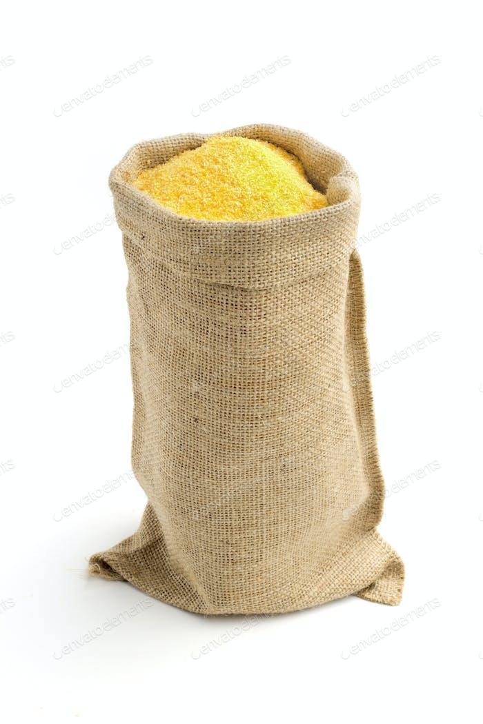 linen bag with corn flour