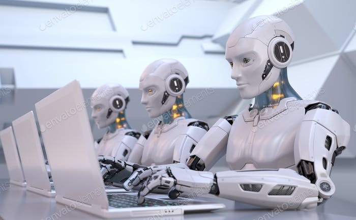 Robots que trabajan con el portátil