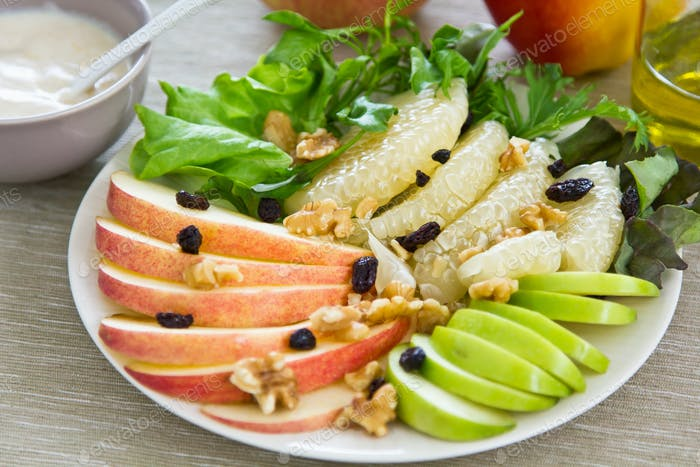 Apples with Pomelo and Walnut salad