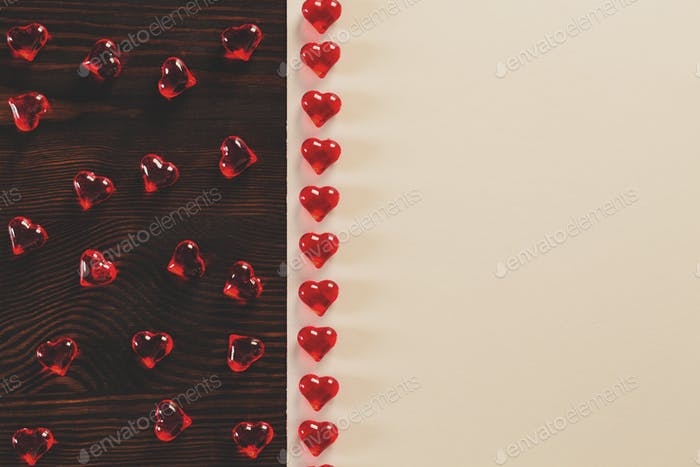 Red hearts on the table