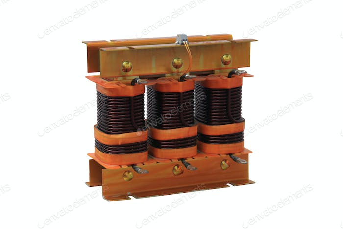Three-phase transformer closeup