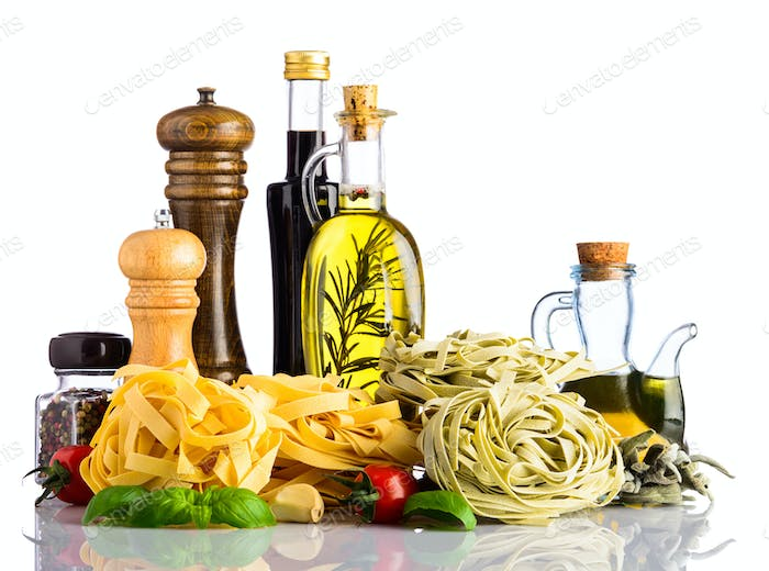 Green and Yellow Tagliatelle Pasta with Italian cuisine on whtie