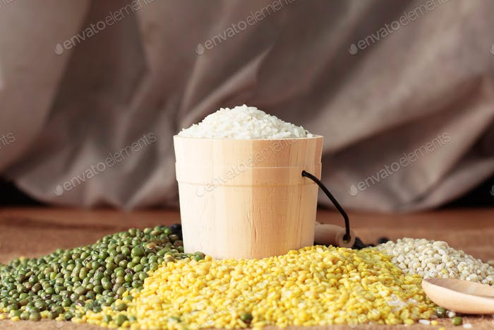 rice and nuts on table
