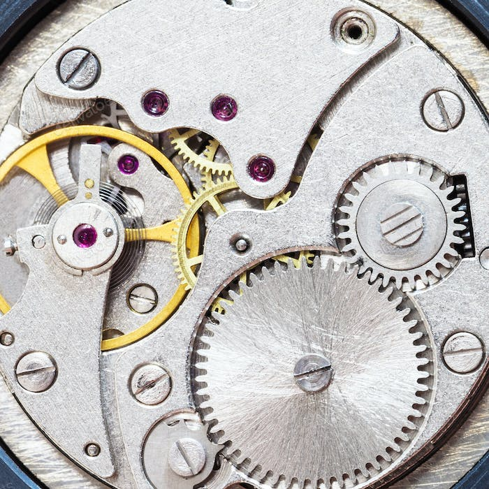 gray clockwork of old mechanical watch