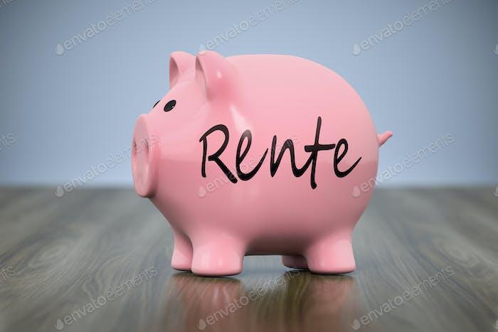 alcancía con la palabra pensión en lengua alemana