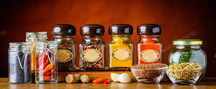Food Spices in glasses