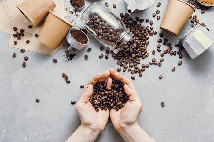 Zutaten für die Herstellung von Kaffee flach lag