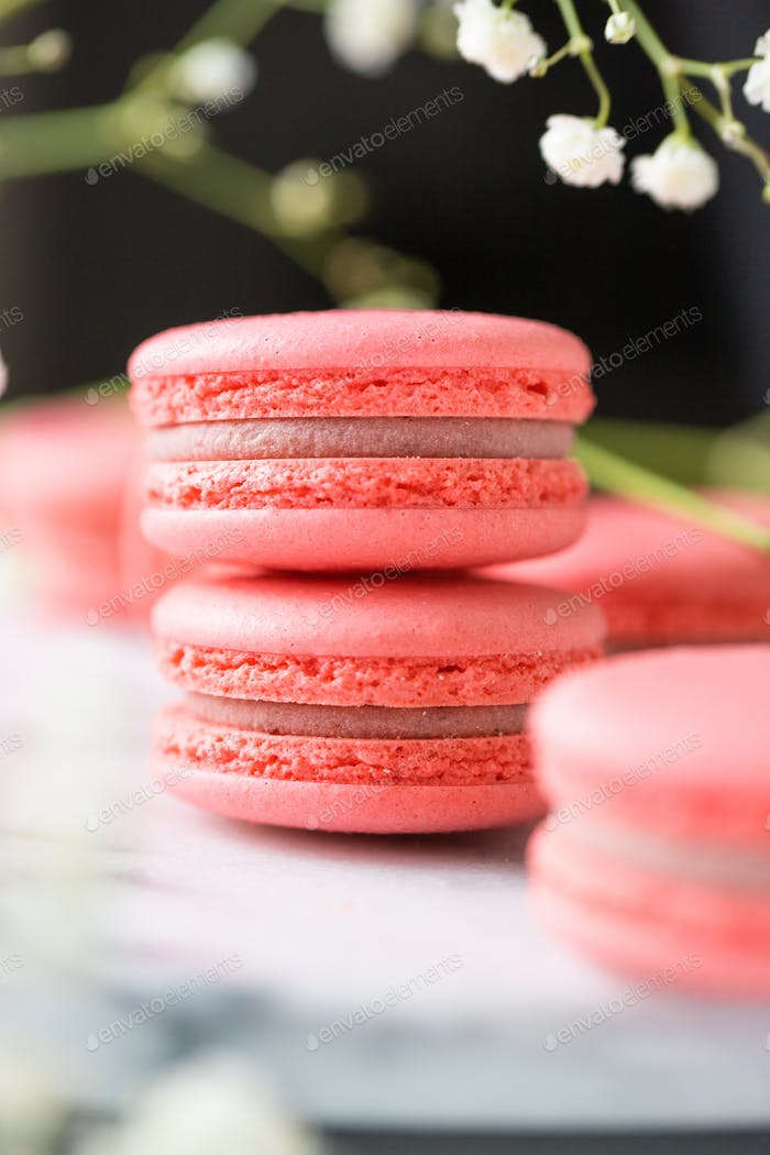 Stack of french pink cakes macaroon on a white marble. Springtime still life.