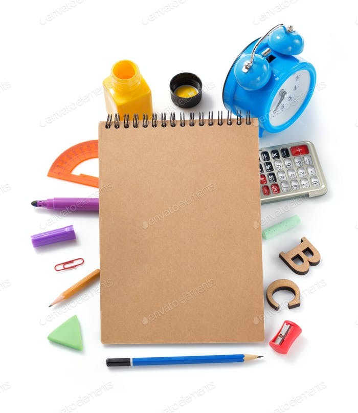 school supplies at white background