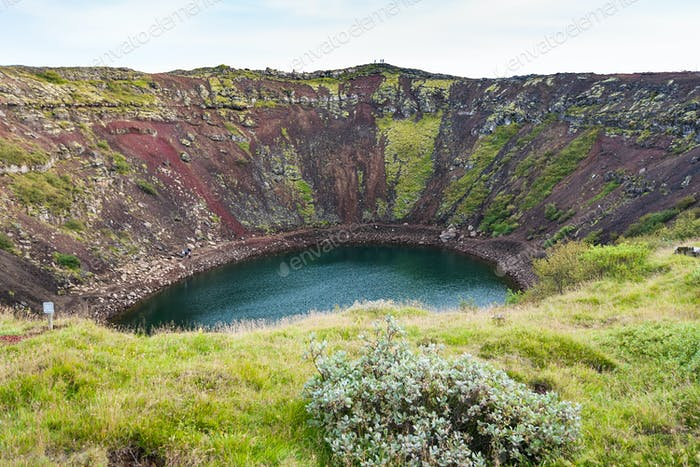 old volcanic crater with Kerith lake in Iceland
