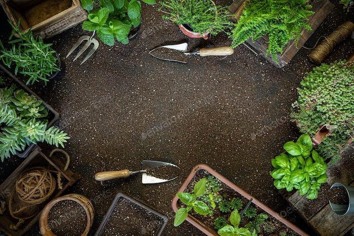 Gardening frame composition