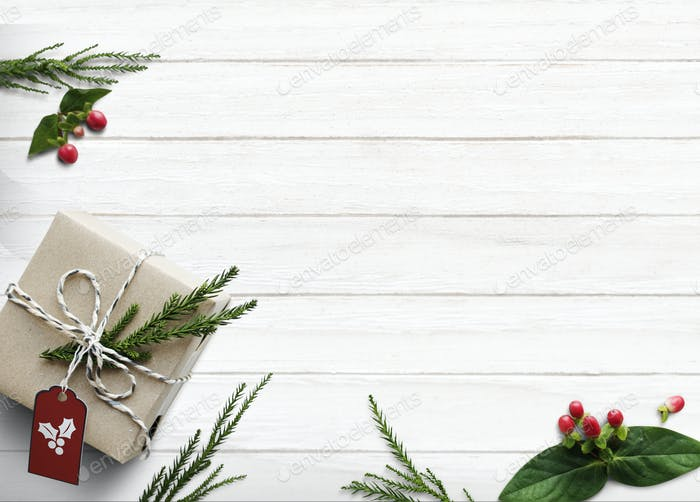 Christmas present boxes on white background with design space