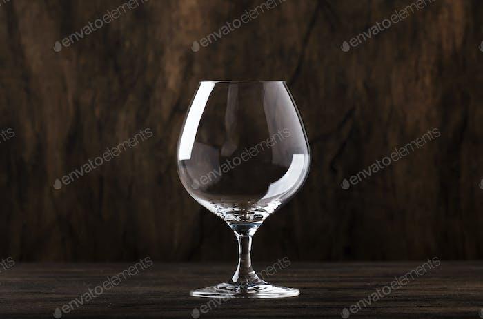 Leeres Brandy oder Cognac Glas, Kopierraum