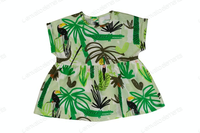 Green baby dress, isolate