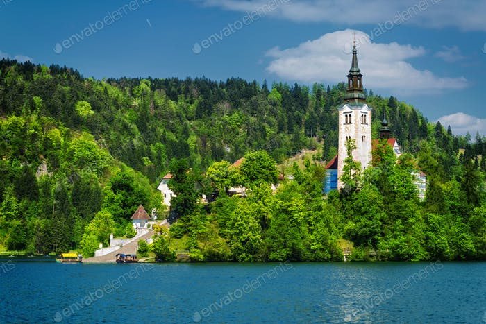 Church and castle, Bled Lake