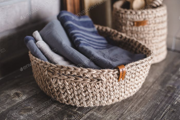 Eco friendly jute knitted baskets with reusable kitchen towel. Zero waste concept. Decor, interior