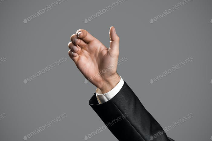 Business Man's Hand To Hold Card, Mobile Phone Or Other Gadget.
