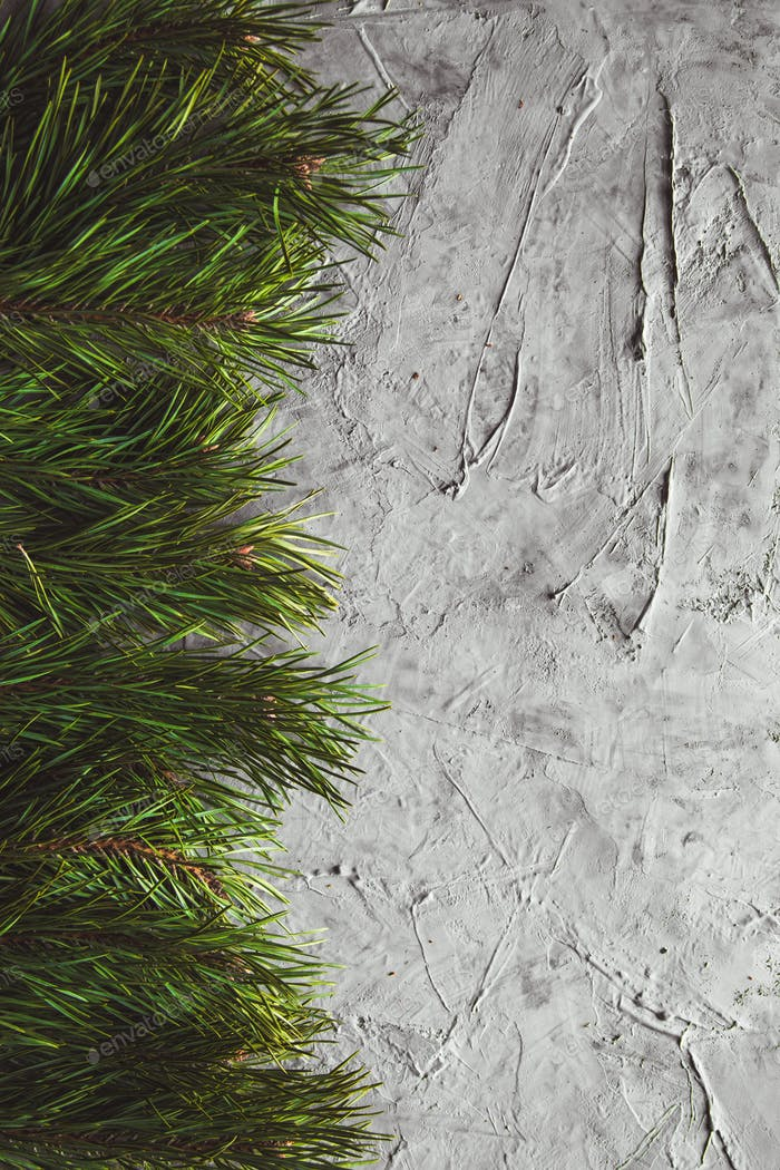 Christmas or New Year background with fir tree, pine branches on grey table. Happy new year