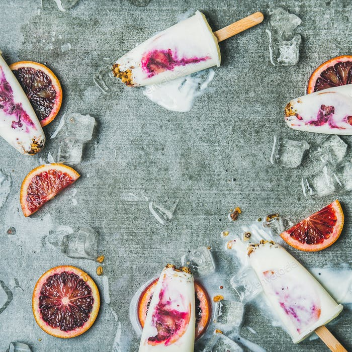 Orange, yogurt, granola popsicles on ice cubes, square crop