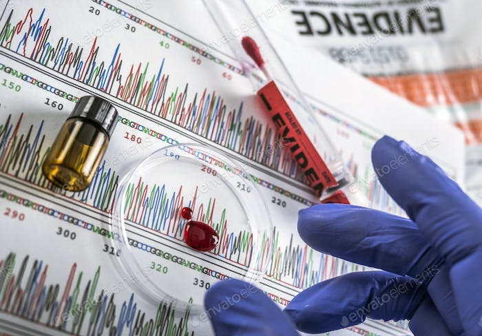 Police expert examines blood sample disk petri in search of DNA test, conceptual image