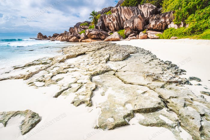 La Digue island. Surreal and bizarre rocky coastline landscape at Seychelles