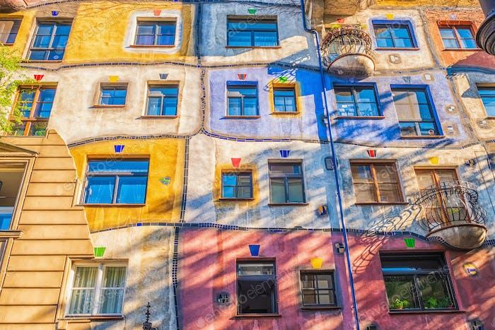 The view of Hundertwasser house in Vienna.