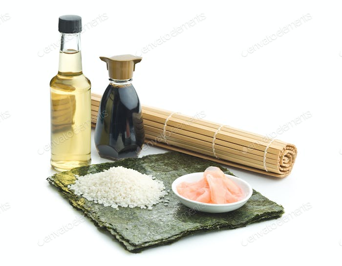 The sushi ingredients.