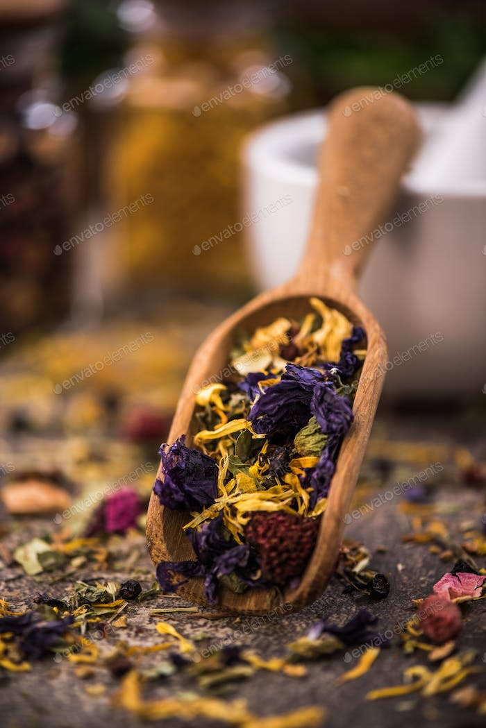 Aromatic tea with dried flowers and fruits