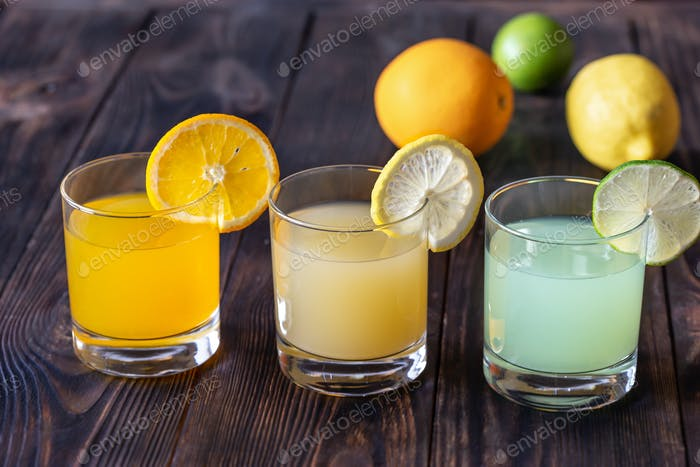Assortment of citrus juices