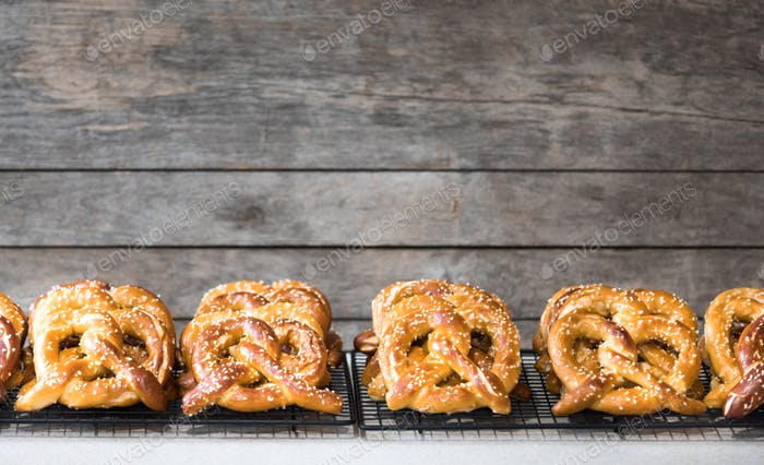 Many Freshly Baked Pretzel Cooling