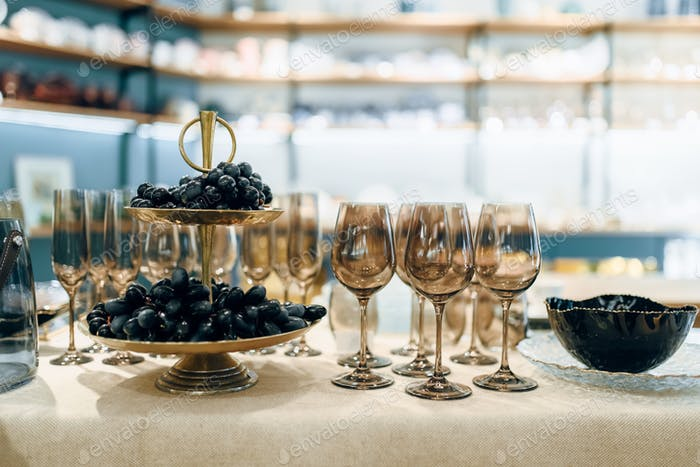 Glassware for banquet, table setting, nobody