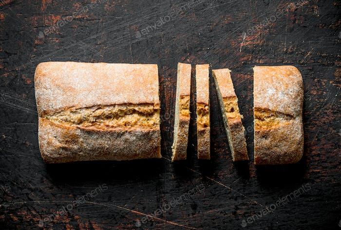 Cut ciabatta bread.