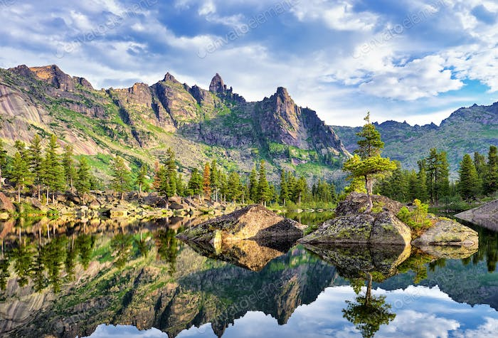 Picturesque Lake in Siberian Mountains