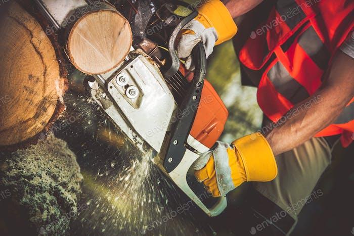Gasoline Saw Wood Logs Cut
