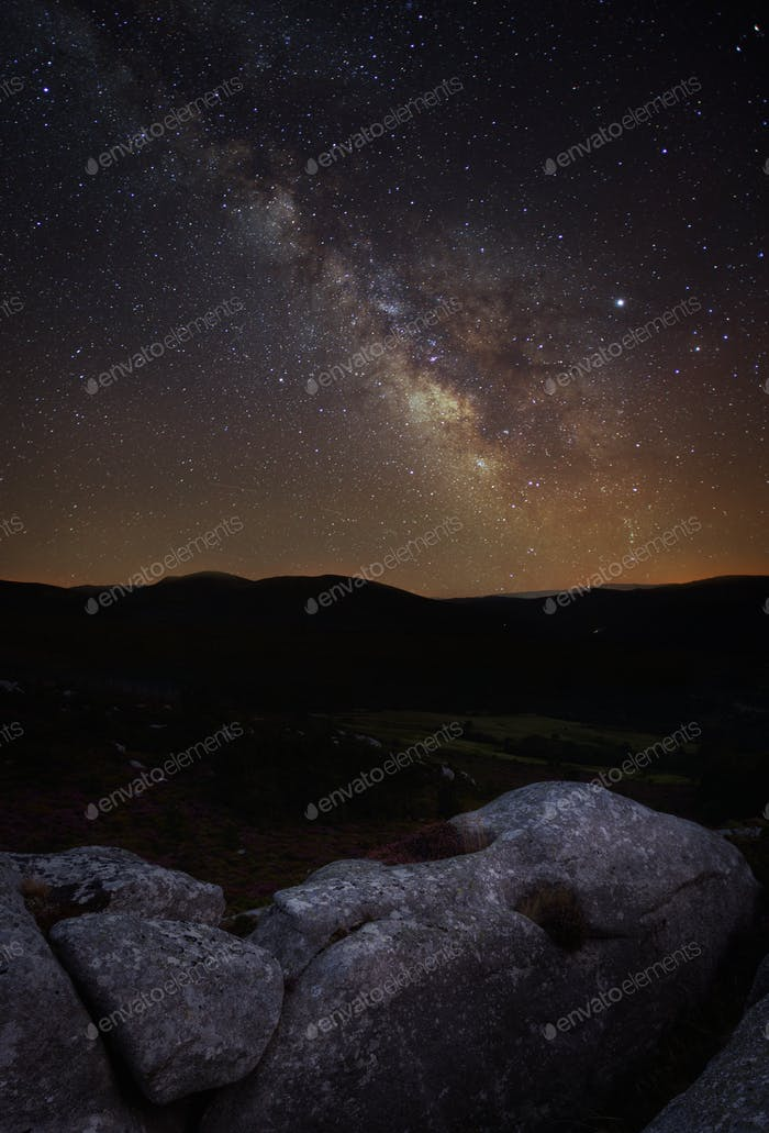 Nightscape with the Milky Way over a Head shaped Rock