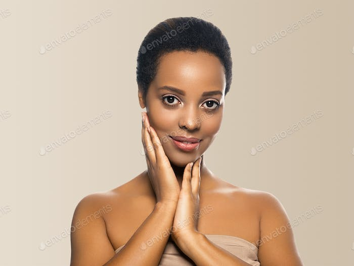 Black skin beauty woman healthyskin teeth and hair model with hands. Beige background.