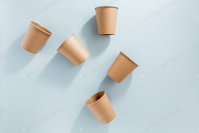 Zero waste concept with paper cups
