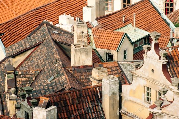Roofs downtown Prague Czech Republic Europe