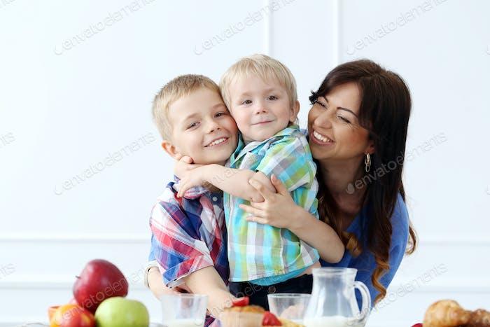 Family during breakfast